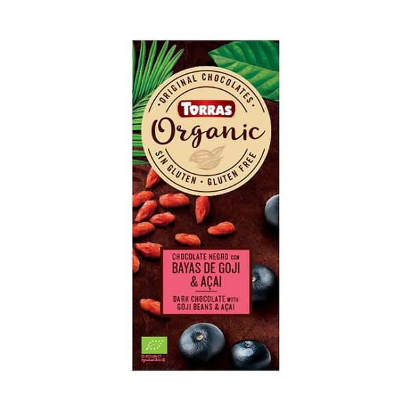 Bio temna čokolada z goji jagodami in acai prahom, 100g