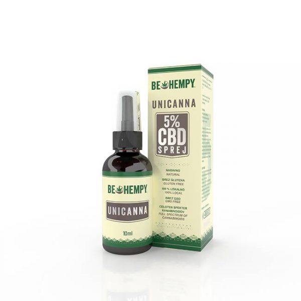 Be hempy 5% CBD konopljine kapljice v spreju UniCanna 10ml