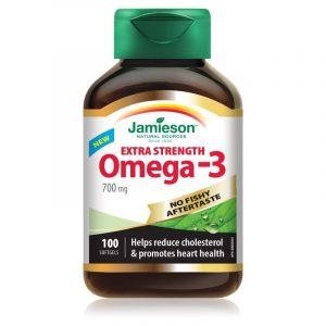 Jamieson Omega 3 Ekstra moč brez priokusa po ribah, 100 kapsul