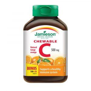 Jamieson Vitamin C 500 mg, bonboni z okusom pomaranče (120 tablet)