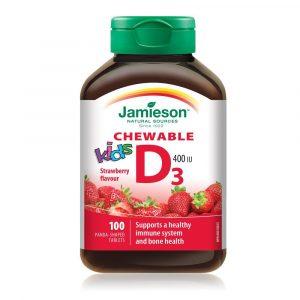Jamieson Vitamin D3 za otroke, bonboni z okusom jagode (100 bombonov)