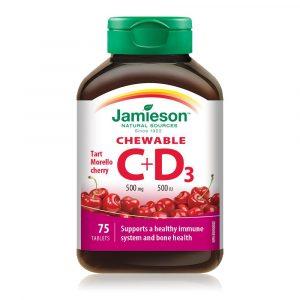 Jamieson Vitamin C in D, bonboni z naravnim okusom češnje (75 bombonov)