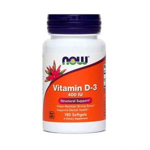 NOW Vitamin D-3, 10 µg oz. 400 IE, 180 kapsul
