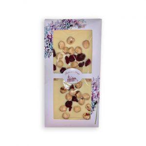 Čokoladnica OLIMJE- Bela čokolada z lešniki in brusnicami 100 g