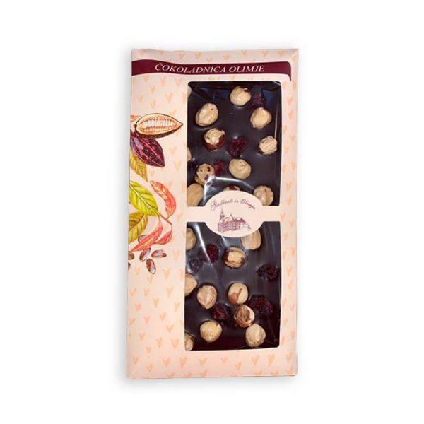 Čokoladnica OLIMJE- Temna čokolada z lešniki in brusnicami 100 g