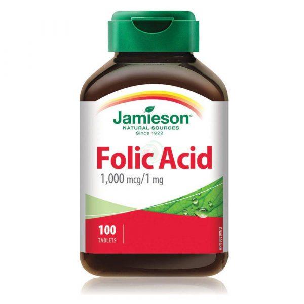 Jamieson Folna kislina 1,000 mcg/mg, 100 tablet
